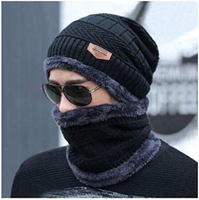 CXZA ユニセックス帽子冬暖かいプラスベルベット肥厚よだれかけ帽子セットウールの帽子防風耳プロテクターヘッドキャップニットハットハット+首輪 より耐久性のある