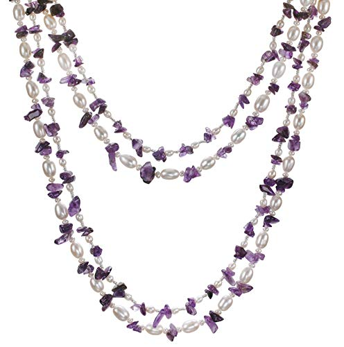 (HinsonGayle 'Amelia' 2-Strand Amethyst & Freshwater Cultured Pearl Rope Necklace & Dangle Earrings-40 in length)
