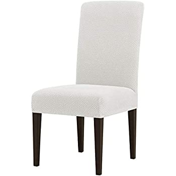 subrtex Jacquard Dining Room Chair Slipcovers Sets Stretch Furniture Protector Covers for Armchair Removable Washable Elastic Parsons Seat Case for Restaurant Hotel Ceremony (4, Creme)