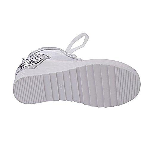 Adee Ladies Ornamented School Polyurethane Pumps Shoes Silver 4GK3lAPjtY