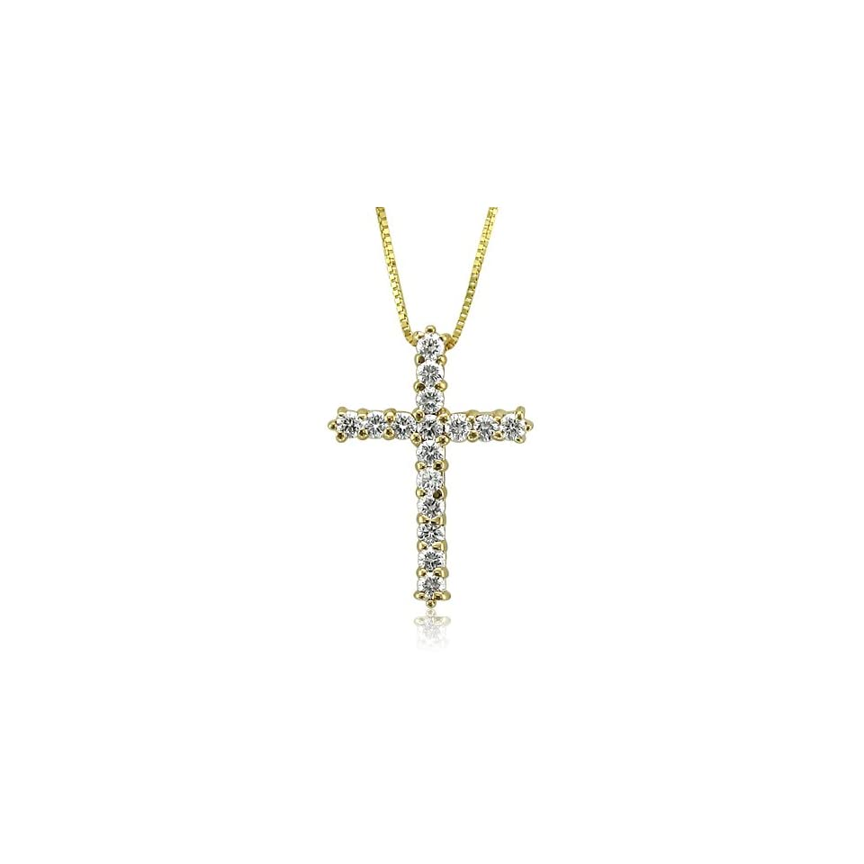 14k Yellow Gold Diamond Cross Pendant Necklace ( 0.50 Carat )