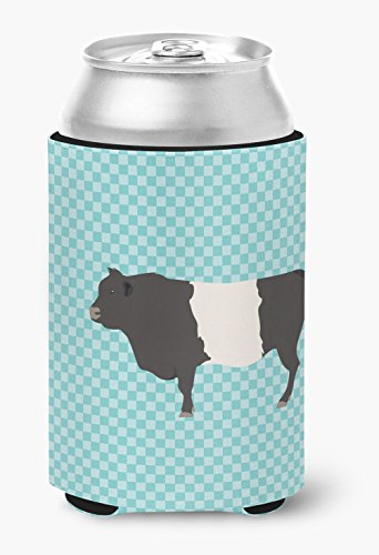 Belted Check (Caroline's Treasures BB8005CC Belted Galloway Cow Blue Check Decorative, Can Hugger, Multicolor)