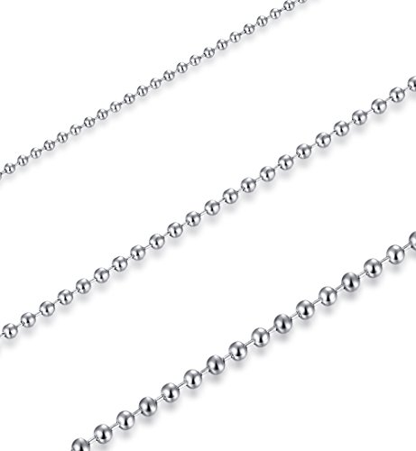 FOSIR 2-5mm Mens Womens Stainless Steel Silver Ball Necklace Chain 18-30 Inch 3Pcs a ()