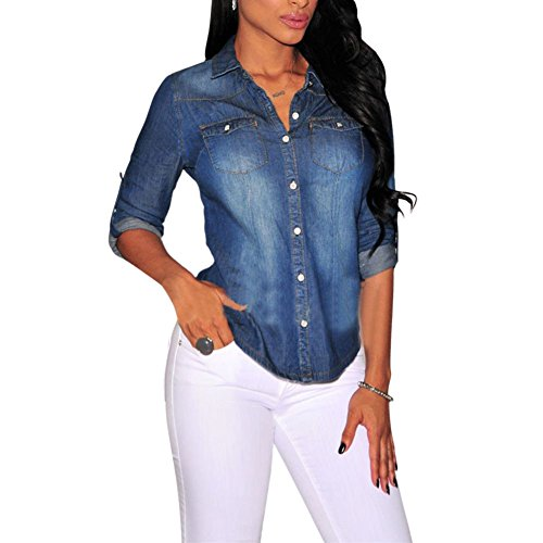 Denim Long Sleeve Blouse - Daxin Womens Fitted Long Sleeve Jean Denim Coat Shirt Blouse Classic Lapel Tops Dark Blue M