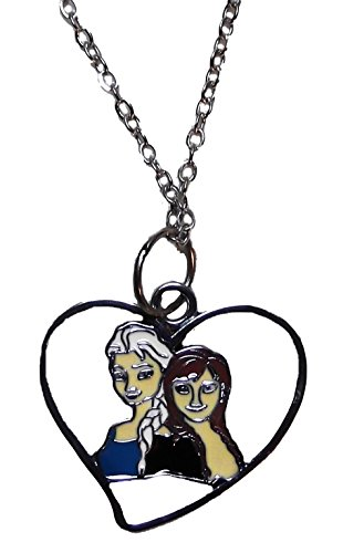[Disney's Frozen Movie ANNA & ELSA Metal Heart Shaped PENDANT with 18