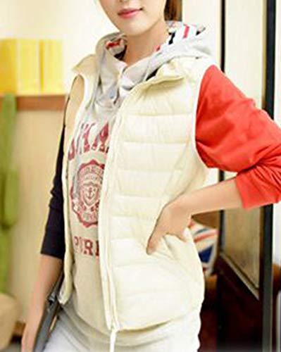 Mangas Abajo Sin Cálido Chaleco Mujer Plumón Pie De Invierno Collar Chaqueta Portátil Blanco Ligero Acolchado 7nxwP7