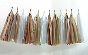 Originals Group (Tassels Ship Assembled And Ready To Hang) 12 X Camel Tissue Paper Tassels For Party Wedding Gold Garland Bunting Pom Pom