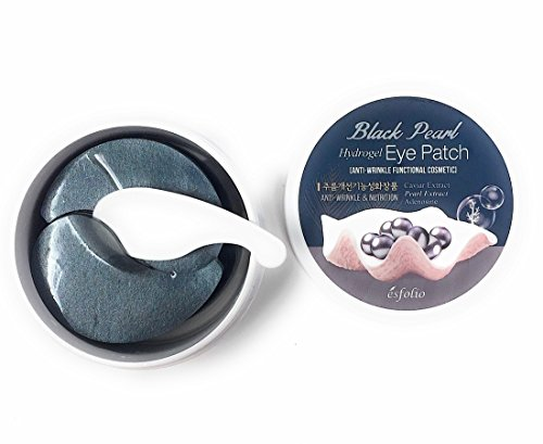 Black Pearl Hydrogel Eye Patch Anti-Wrinkle Functional Cosmetic Fine Lines Brightening Rejuvenation Dark Circles by Esfolio (60 - Treatment Rejuvenation Caviar