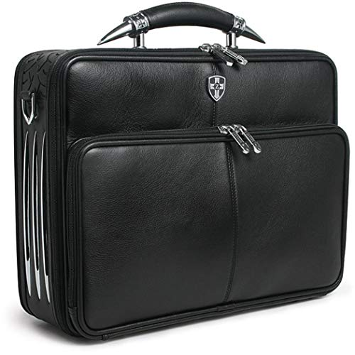 - Black Professor Briefcase, Premium Pebble Leather, Softsided, Solid Pattern