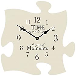 Time is Made Up of Captured Moments 12 x 12 Wall Hanging Wood Puzzle Piece Clock