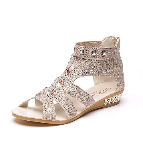 Women Sandals, LIM&Shop  Casual Heeled Wedge Shoes Ankle Strap Flat Soft Sole Summer Boots Open Toe Roman Shoes Beige