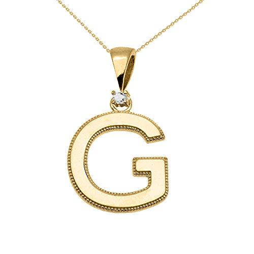 """Collier Femme Pendentif 14 Ct Or Jaune Poli Élevé Milgrain Solitaire Diamant """"G"""" Initiale (Livré avec une 45cm Chaîne)"""