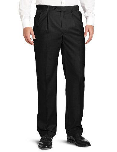 Comfort Waist Pleated Dress Slack - Louis Raphael ROSSO Men's Super 150 Twill Pleated with Comfort Waist Pant, Black, 40x32