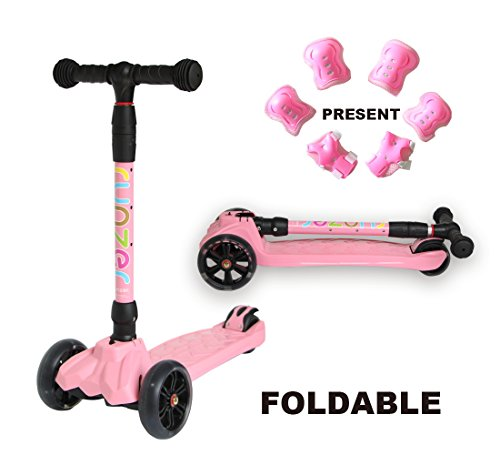 Easy_Way Kick Scooter for Kids Boys Girls Beginners 3 Wheels PU LED Light up Flashing Wheels Toy Scooter Adjustable Height with Brake Folding Scooter for Kids Age 3-12 Years Old Gift Sport Protective ()
