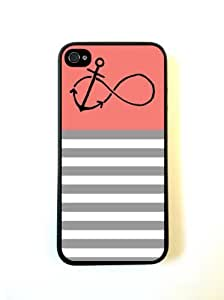 Anchored-Forever Coral & Grey Stripes Black iPhone 5 Case - For iPhone 5/5G - Designer PC Case Verizon AT&T Sprint