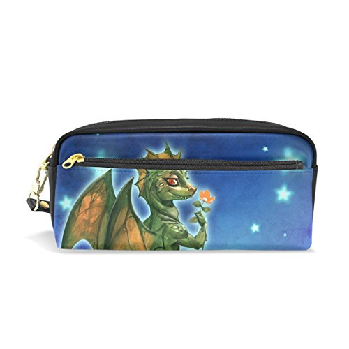 ColourLife Pen Pencil Case Green Dragon with Flower Leather Zipper Pouch Bag Makeup Cosmetic Bag Pencil Holder (Dragon Green Leather)