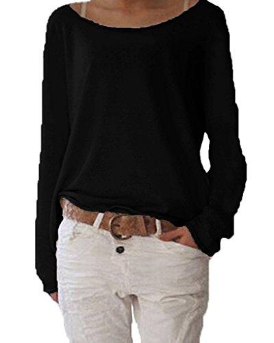Yidarton Damen Langarm T-Shirt Rundhals Ausschnitt Lose Bluse Hemd Pullover Oversize Sweatshirt Oberteil Tops (Schwarz, M)