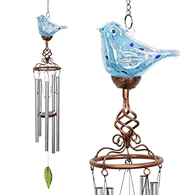 Exhart Solar Hand Blown Pearlized Glass Bird Wind Chime