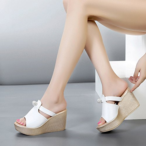 GTVERNH-8 GTVERNH-8 GTVERNH-8 Cm High Heels Keile Hausschuhe Sommer - Schuhe Wasserdichte Dicksohlige Sandalen Einen Weißen Pantoffeln 39 8f216e
