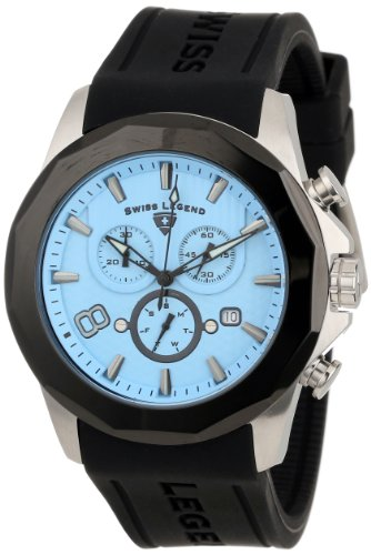 Swiss Legend Men's 10042-012-BB Monte Carlo Chronograph Light Blue Textured Dial Black Silicone Watch