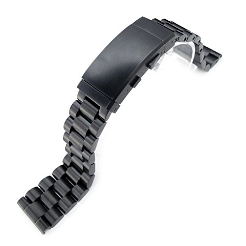 215mm-Endmill-316L-Stainless-Steel-Watch-Bracelet-for-Seiko-Tuna-Wetsuit-Ratchet-PVD-Black