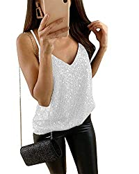 Women's Sequin V-Neck Spaghetti Strap Tank Tops