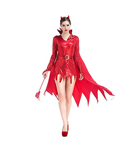 Leather Devil Costume Red (PINSE Halloween Sexy Leather Red Devil Costume)