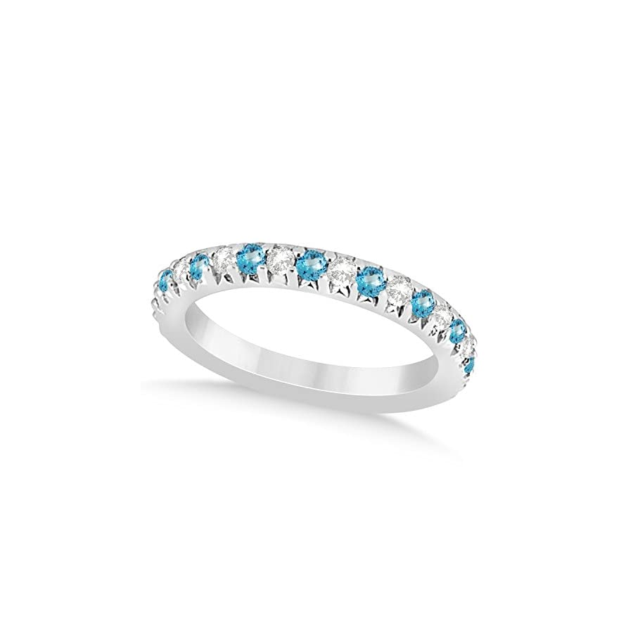 (0.60ct) 18k White Gold Blue Topaz and Diamond Accented Prong Set Wedding Band
