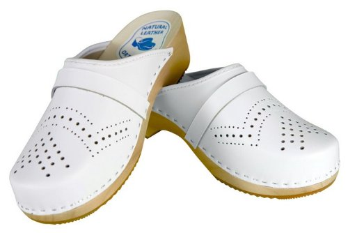 Leather Clogs amp; Women's Wooden White dfTwxwq