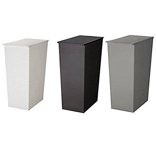 日本製ダストボックス kcud クード シンプル スリム ゴミ箱 ごみ箱 ホワイト×ブラック×グレー 3個セット 炭の消臭剤付 B07545S8PM