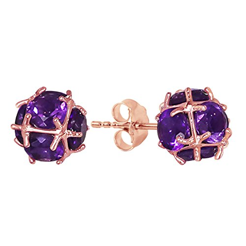 5.7 Carat 14k Solid Rose Gold Stud Earrings with Natural Amethysts