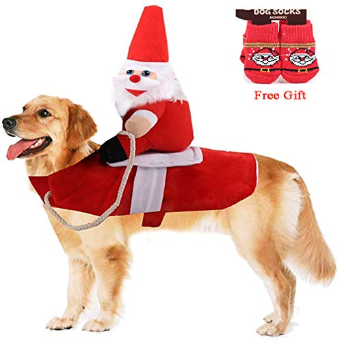 Vikedi Dog Christmas Costumes, Dogs Santa Claus Costume with Dog Socks, Adjustable Pet Christmas Clothes Running Santa…