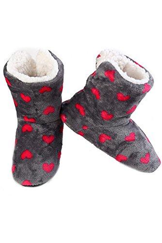 Pantofola Stampata Da Donna Iconoflash Con Fodera In Ecopelle Foderata Di Cuori Grigi