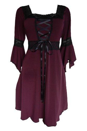 Dare To Wear Victorian Gothic Boho Women's Plus Size Renaissance Corset Dress Burgundy 2x (Plus Size Fairy Dress)