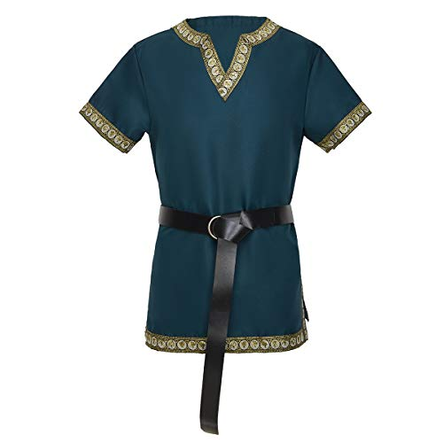 KOGOGO Viking Pirate Tunic Medieval Knight T-Shirt Green,XLarge -