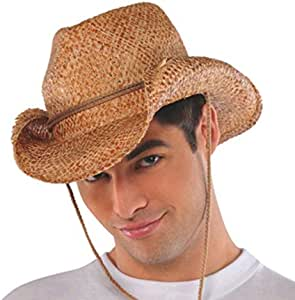 Amscan 392130 Straw Adult Cowboy Costume Hat with Chinstrap