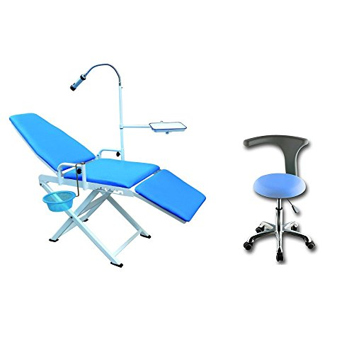 Zeta Portable Foldable Dental Chair 110V with PU Leather Saddle Dentist Stool