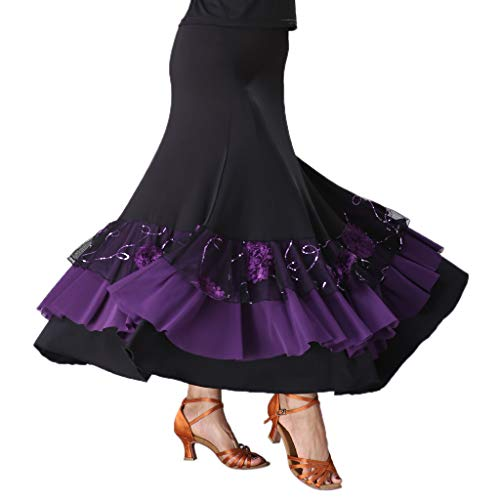 Fityle Flamenco Ballroom Waltz Dance Big Swing Skirt Sequined Modern Style Costume - Black+Purple, as ()