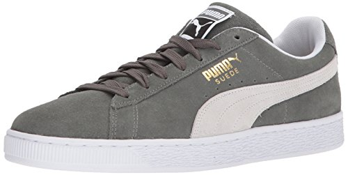 PUMA Suede Classic Sneaker, Castor Gray White, 7.5 M (Suede Women Sneakers)