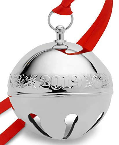 Wallace 2019 Silver-Plate Sleigh Bell-49th Edition (Holly & Ornaments) Holiday Ornament, Metal ()