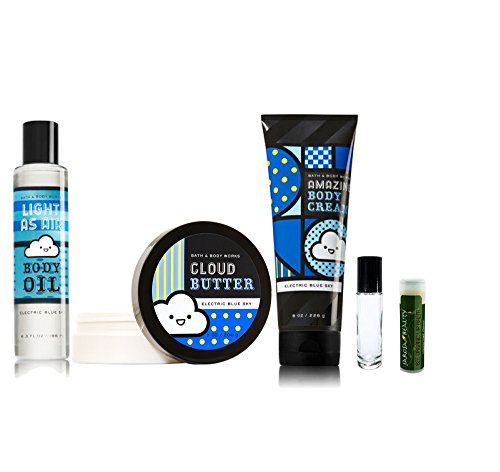 ELECTRIC BLUE SKY Bath & Body Works 5 Piece Set of Light as Air Body Oil, Cloud Butter & Amazing Body Cream with a Jarosa Peppermint Lip Balm & a ()