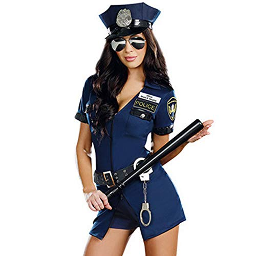 FORNY Women Police Costume Cosplay Dirty Cop Uniform Halloween Officer Outfits (style9) -