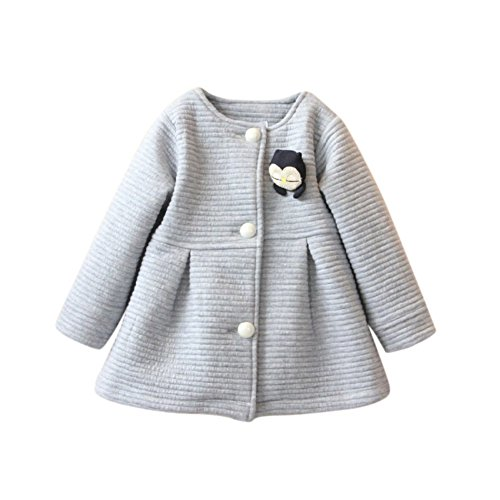 Shouhengda Kids Girls One Piece Dress Coat Long Sleeve Button Coat Outerwear Jacket 2-3Y - Blend 2 Button Jacket
