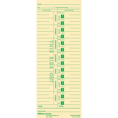 Office Depot Card - Office Depot Time Cards, Weekly, Monday-Sunday Format, 1-Sided, 3 3/8in. x 8 7/8in, Manila, Pack of 100, GB-740016