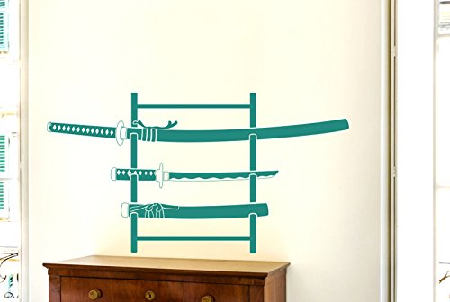 - CUT IT OUT Three Samurai Swords On Stand Wall Stickers Art Decals - Large (Height 107cm x Width 57cm) Aqua Green