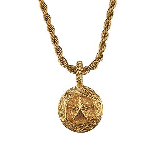 aBALENT(アバレント)サークル スター ネックレス ゴールド コイン スクロール ゴールドネックレス メンズ シルバー925 ペンダント