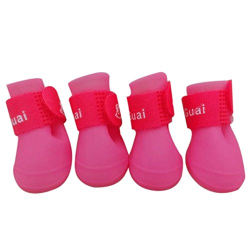 Sumen 2017 New Dog Candy Colors Boots Waterproof Rubber Pet Rain Shoes (S, Pink)]()