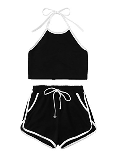 SweatyRocks Womens 2 Piece Outfits Halter Sleeveless Crop Cami Top with Shorts