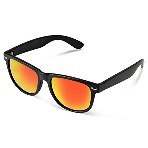 Duduma® Reflective Revo Color Full Mirrored Lens Large Horn Rimmed Style Uv400 Wayfarer Sunglasses (black frame with red mirror - Sunglasses Scratch Resistant Womens