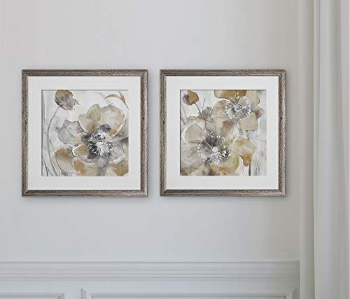 WEXFORD HOME Taupe Spring Poppy -2 Piece Set Art Print, 16X16,